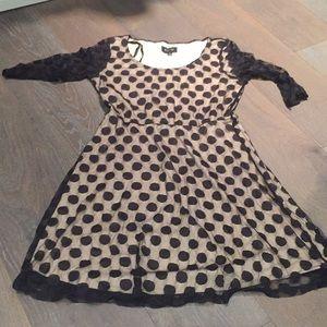 AUW sheer polka dot illusion dress sm black nude